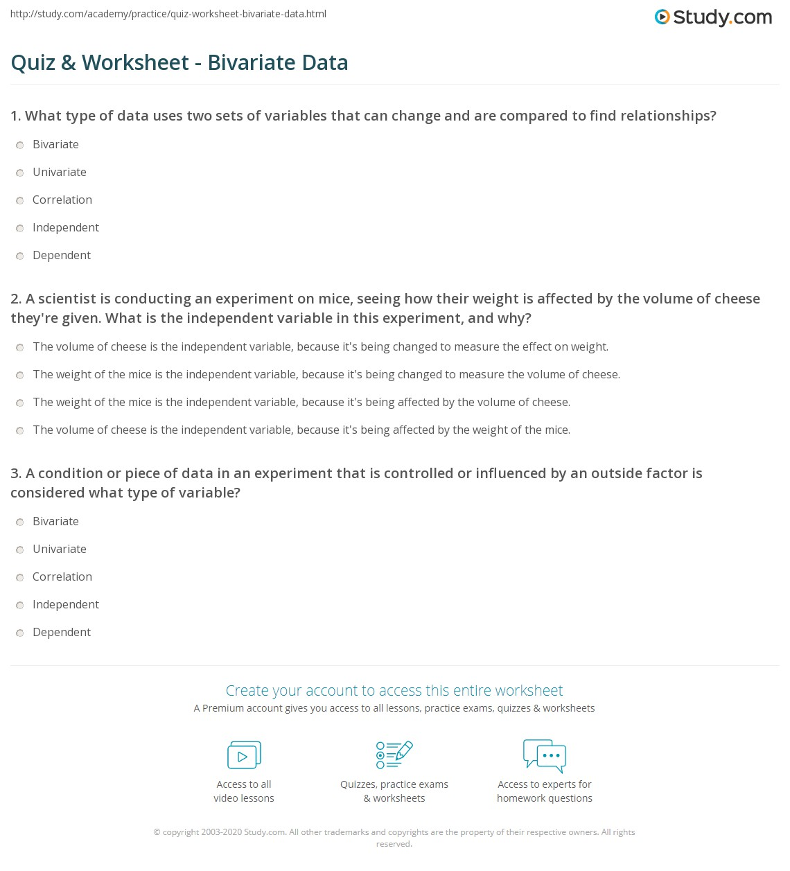 Printables Bivariate Data Worksheets quiz worksheet bivariate data study com print what is definition examples worksheet