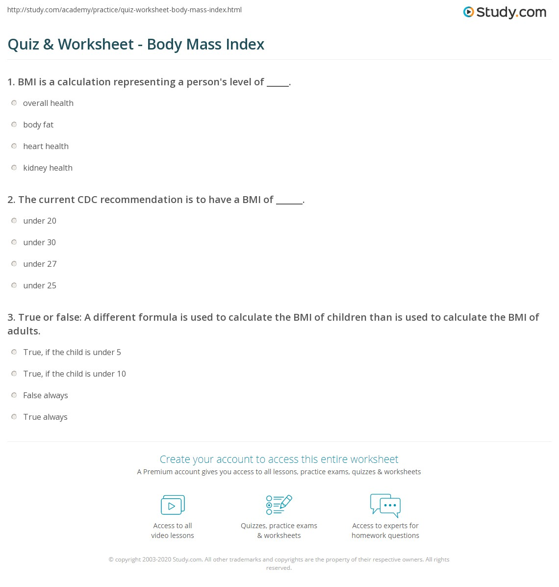 Print What Is Bmi?  Definition, Formula & Calculation Worksheet