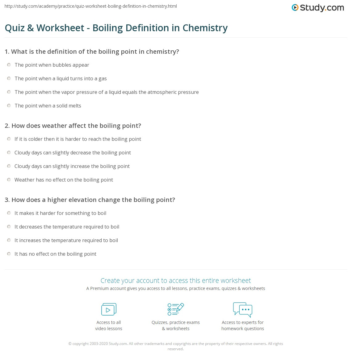 Quiz Worksheet Boiling Definition in Chemistry – Ap Chemistry Worksheets