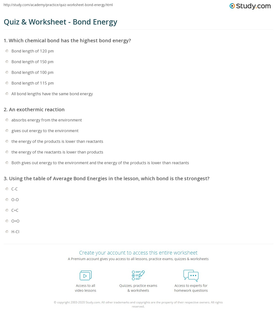 {Quiz Worksheet Bond Energy – Bond Energy Worksheet