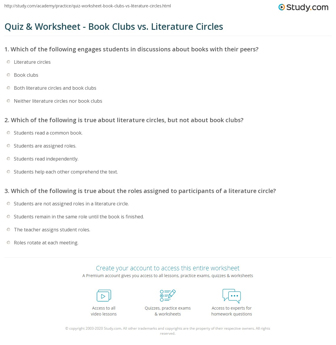 Uncategorized Literature Circles Worksheets quiz worksheet book clubs vs literature circles study com print the difference between worksheet