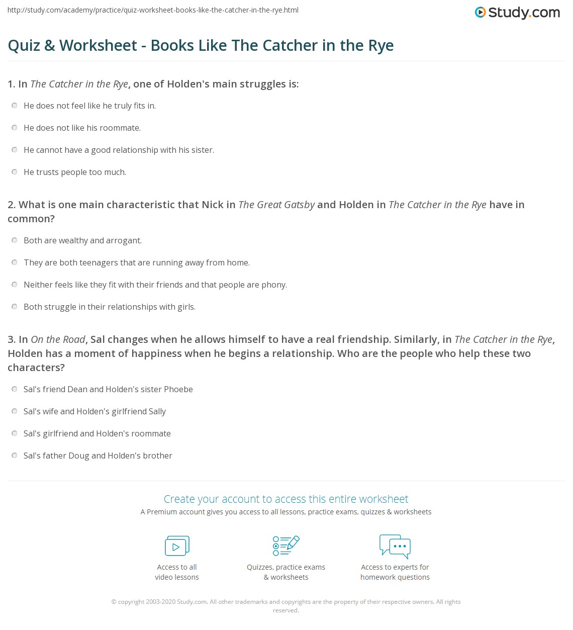 Worksheets Catcher In The Rye Worksheets quiz worksheet books like the catcher in rye study com print similar to worksheet