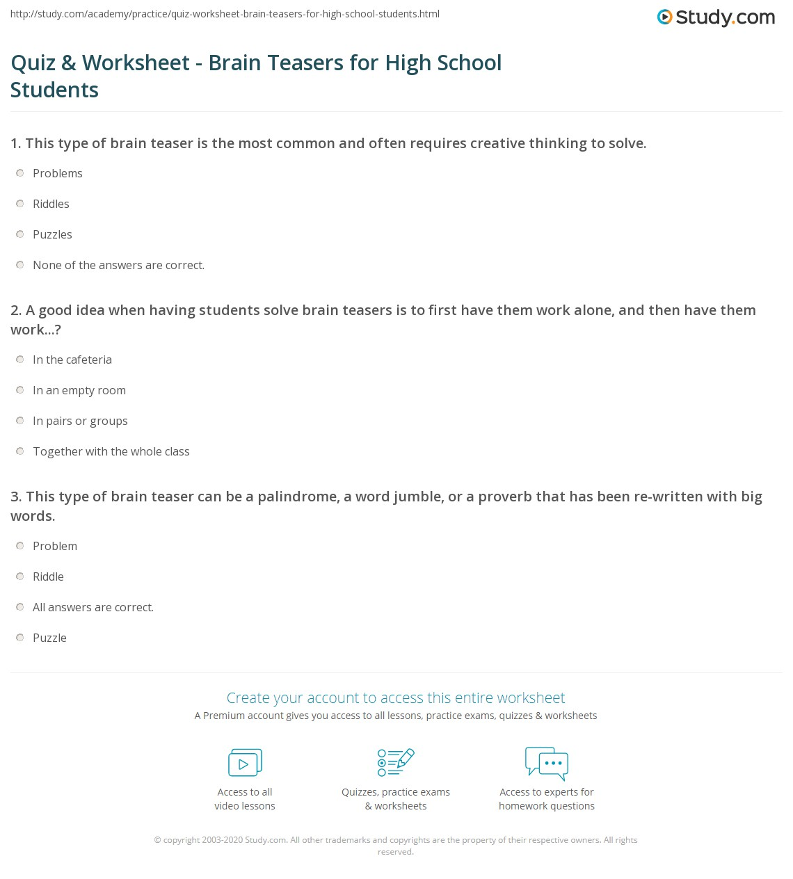 Worksheets Creative Thinking Worksheets quiz worksheet brain teasers for high school students study com print worksheet