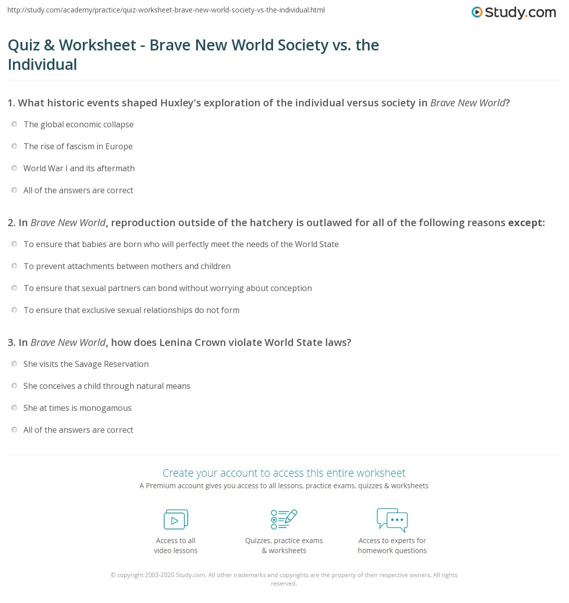quiz worksheet brave new world society vs the individual. Black Bedroom Furniture Sets. Home Design Ideas
