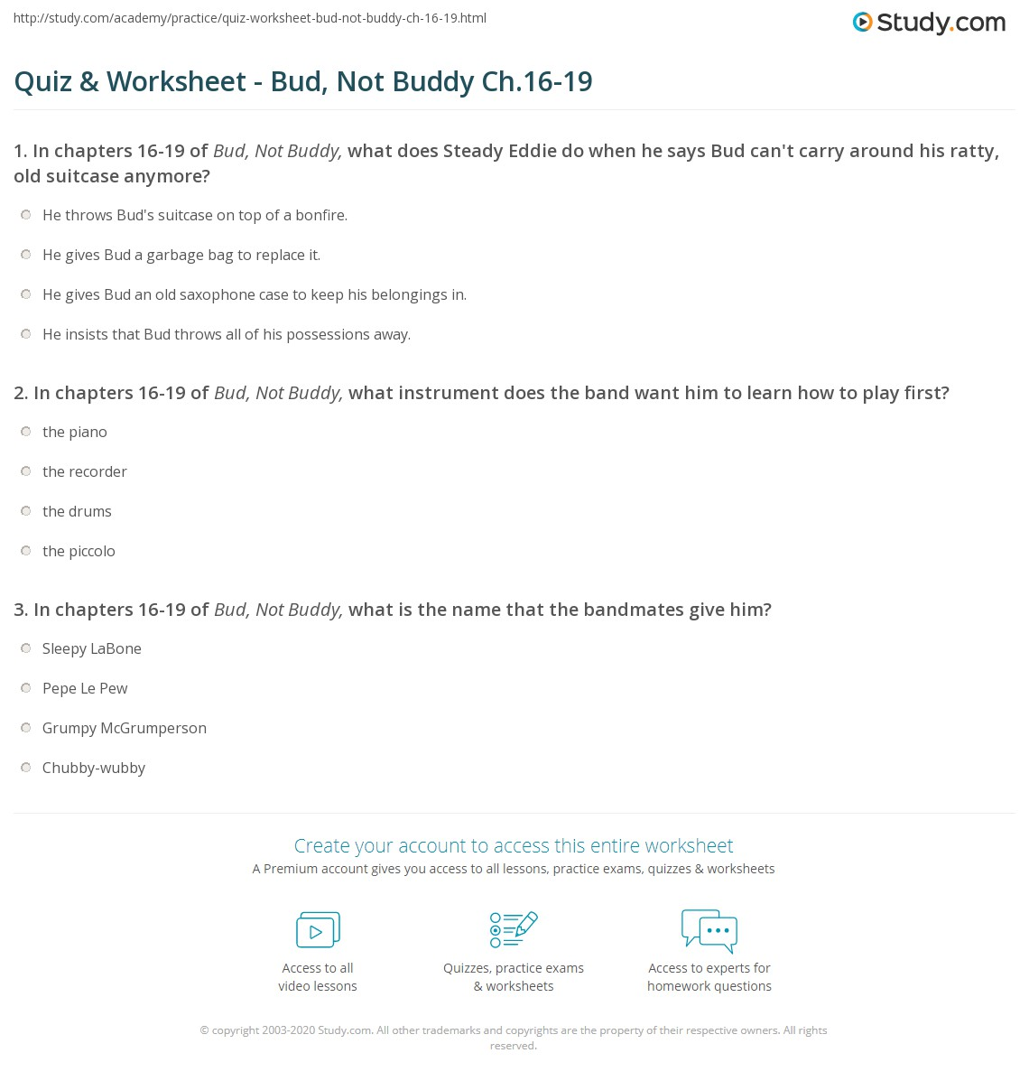 bud not buddy worksheets rringband quiz worksheet bud not buddy ch 16 19 study com