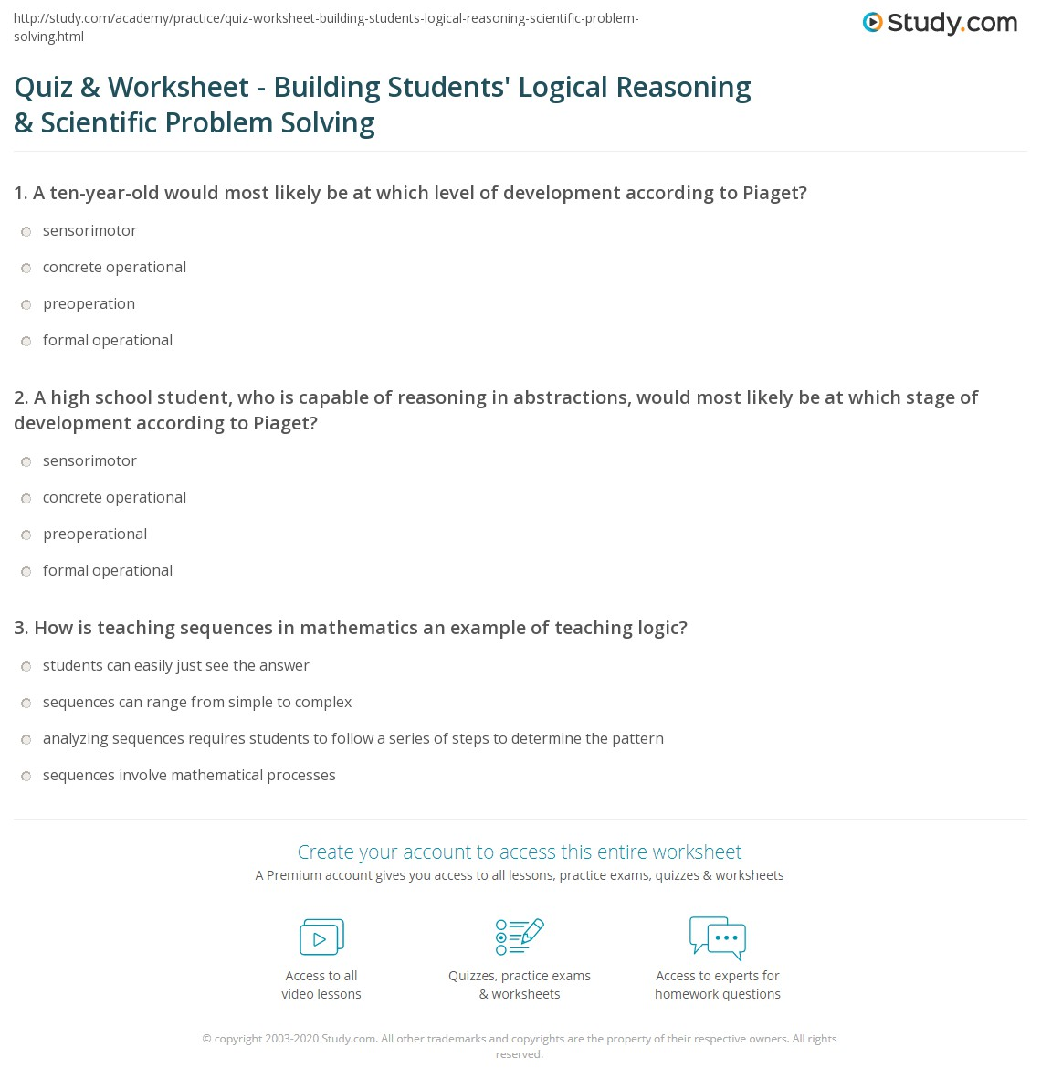 Quiz Worksheet Building Students Logical Reasoning – Problem Solving Worksheets