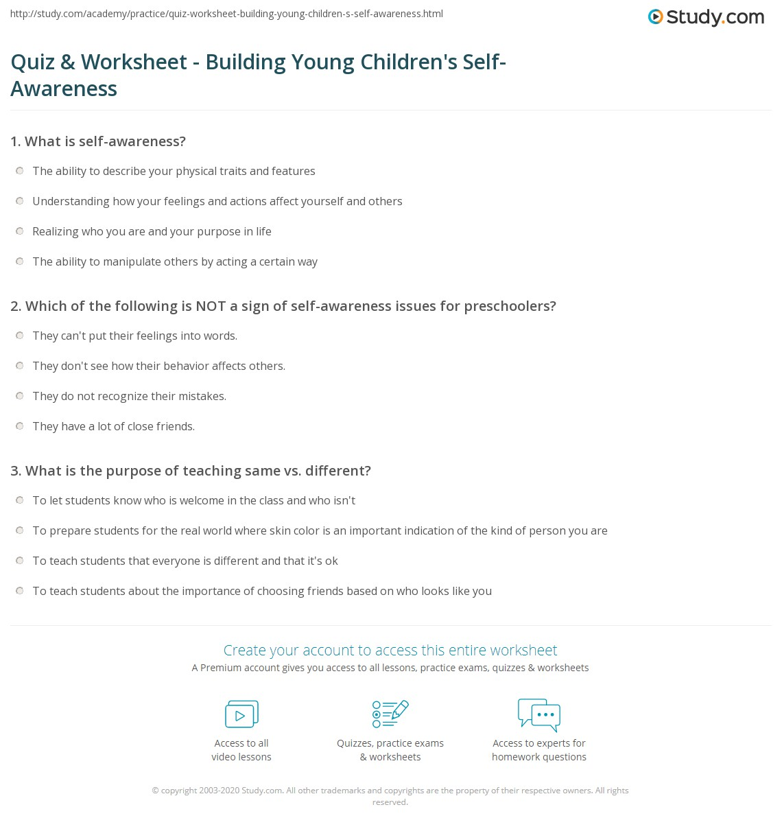 Teaching Self Awareness Lawteched – Self Awareness Worksheets