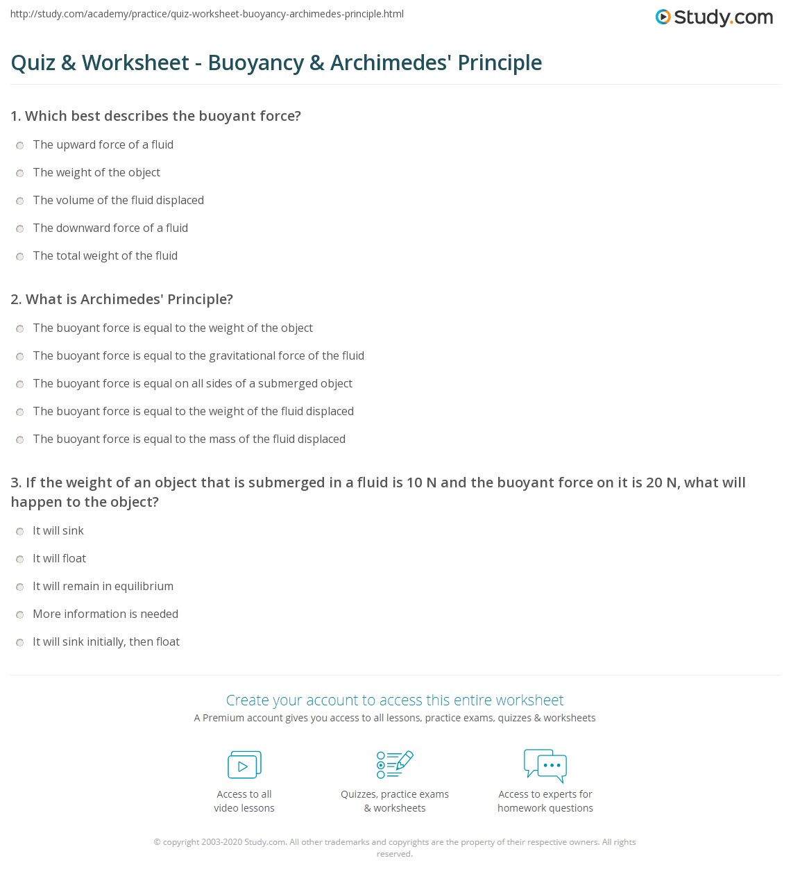 quiz worksheet buoyancy archimedes principle com print buoyancy calculating force and density archimedes principle worksheet