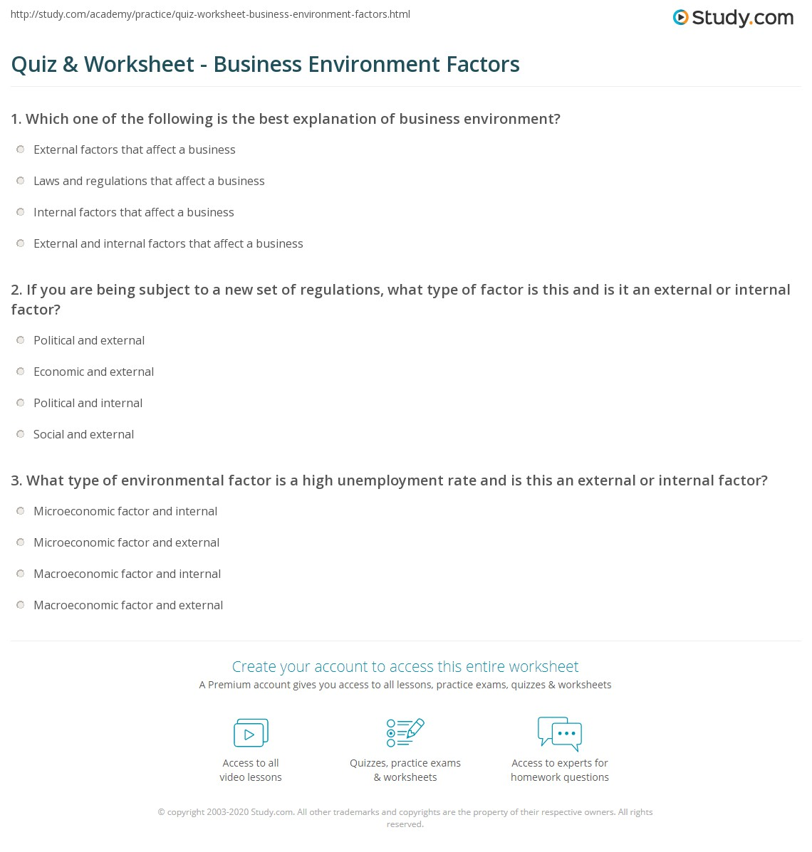 Quiz Worksheet Business Environment Factors – Factors Worksheets