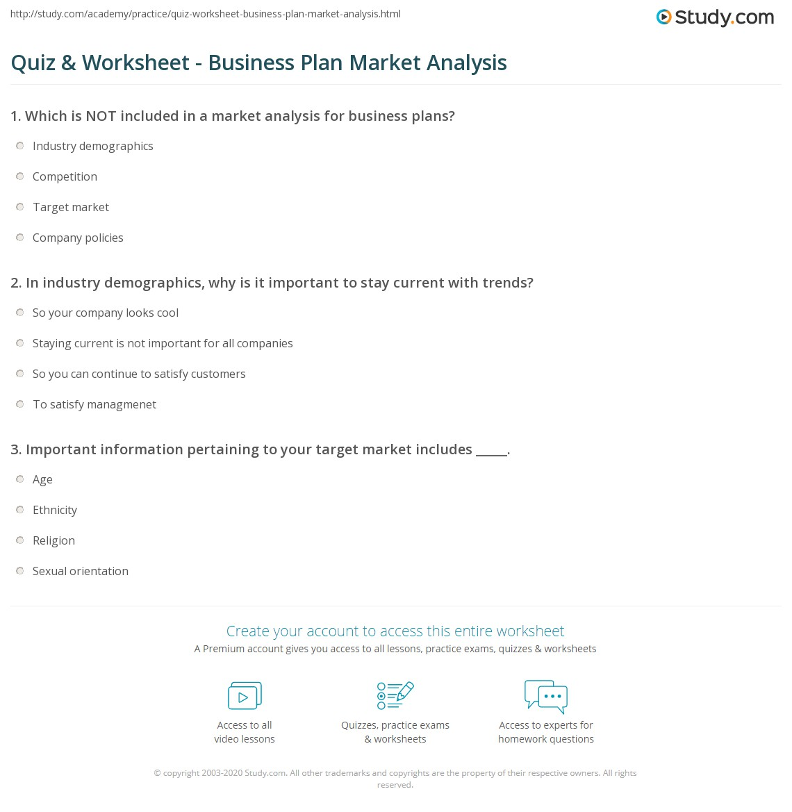 Quiz Worksheet Business Plan Market Analysis – Market Analysis Example