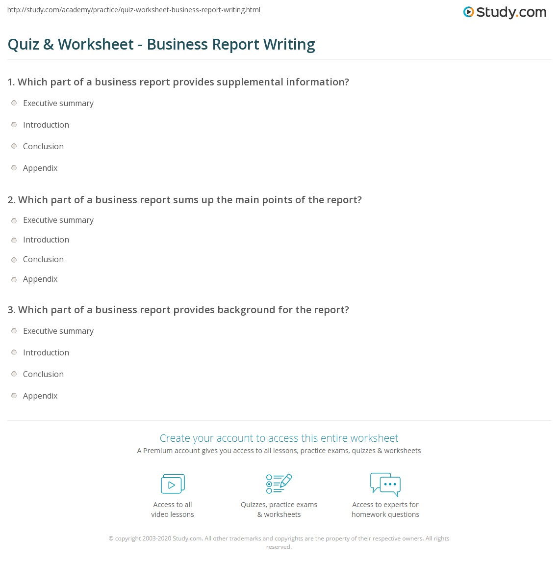 Which part of a business report sums up the main points of the ...
