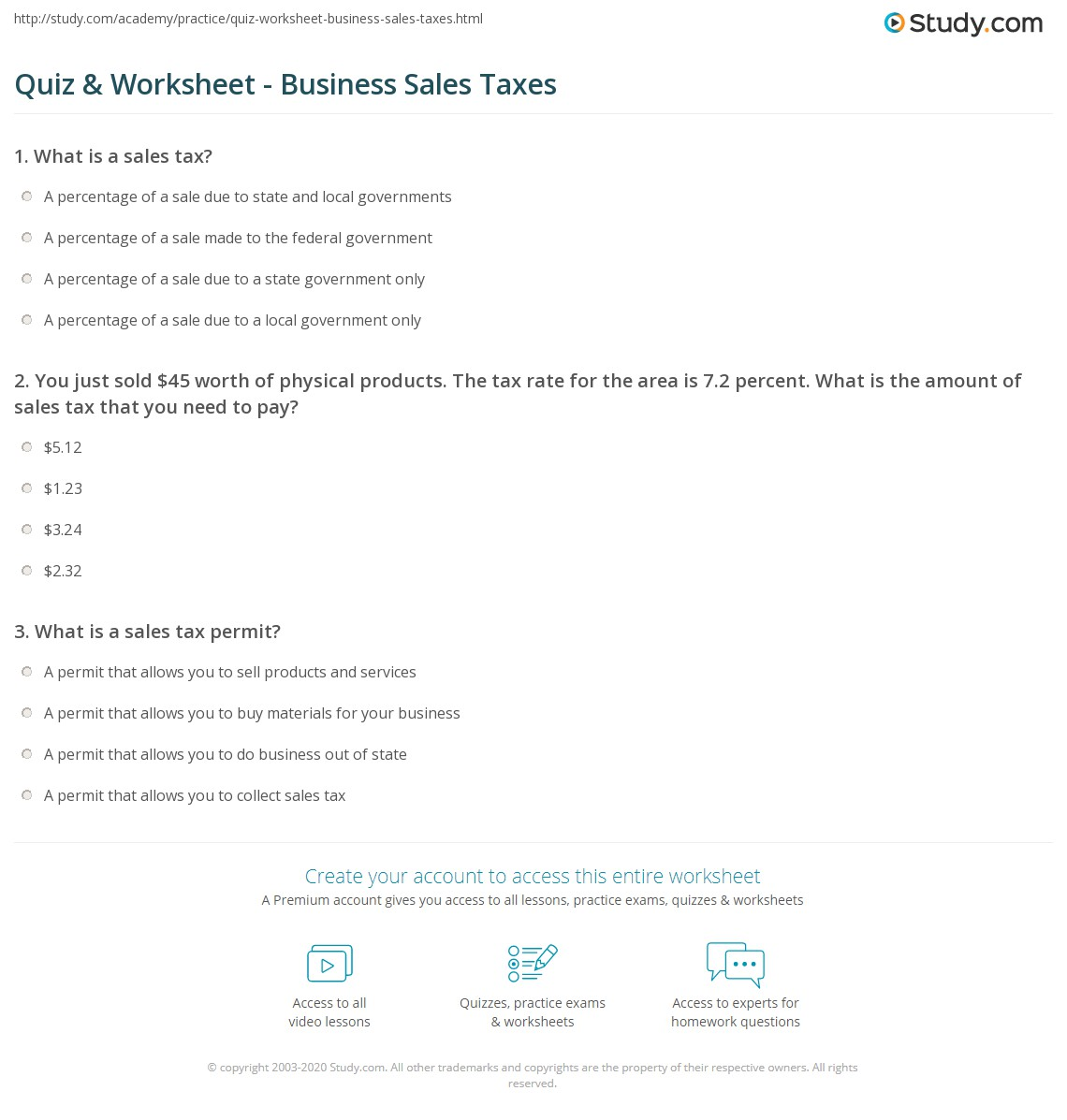 Printables Sales Tax Worksheet quiz worksheet business sales taxes study com print tax definition types worksheet