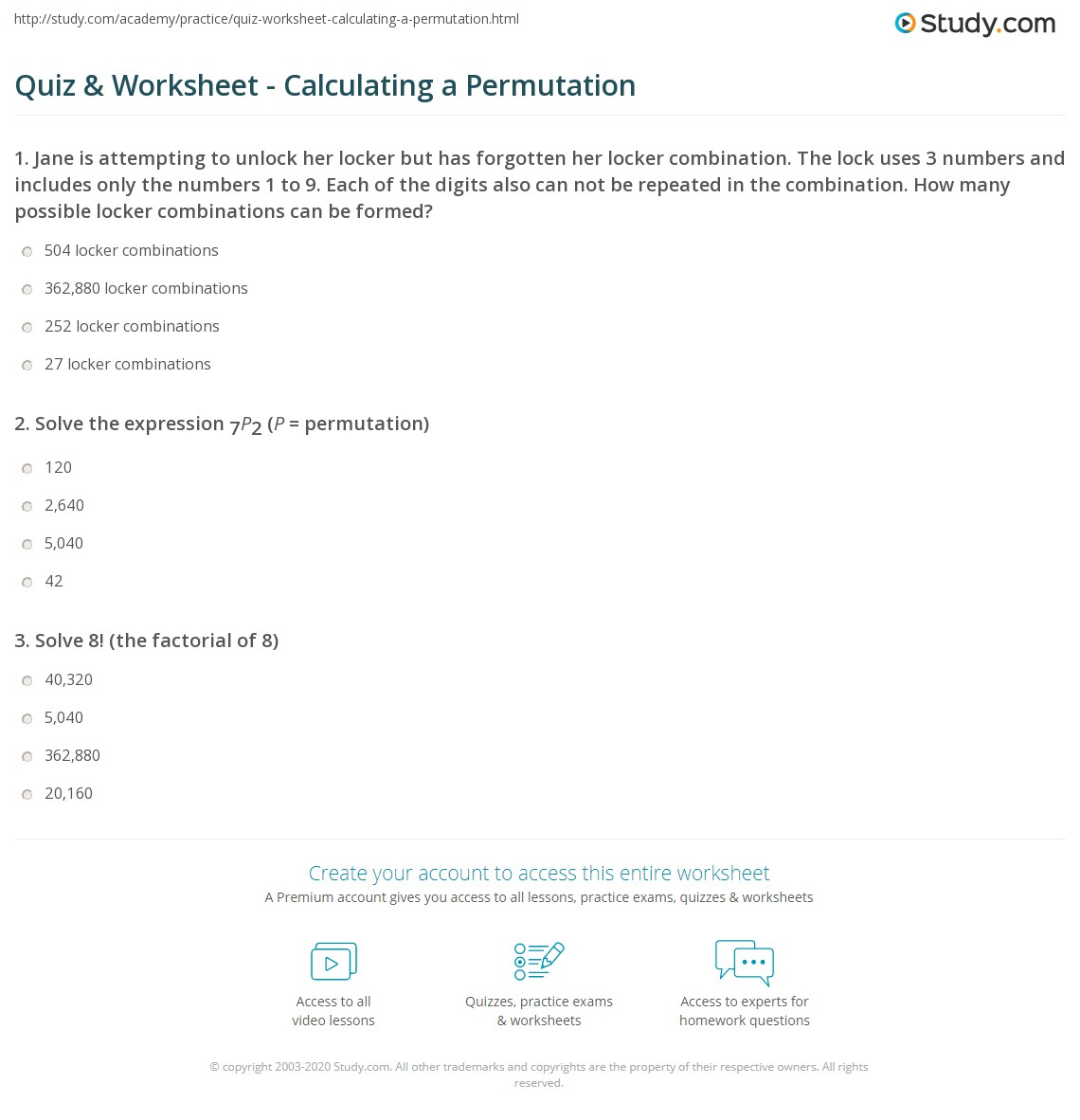 Quiz Worksheet Calculating a Permutation – Combination and Permutation Worksheet