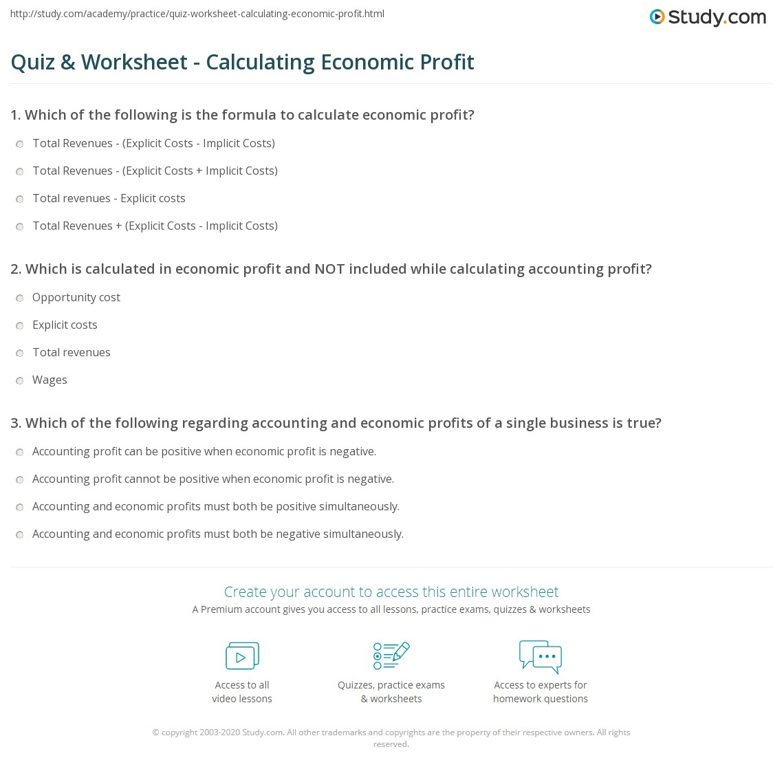 Quiz Worksheet Calculating Economic Profit – Profit Loss Worksheet