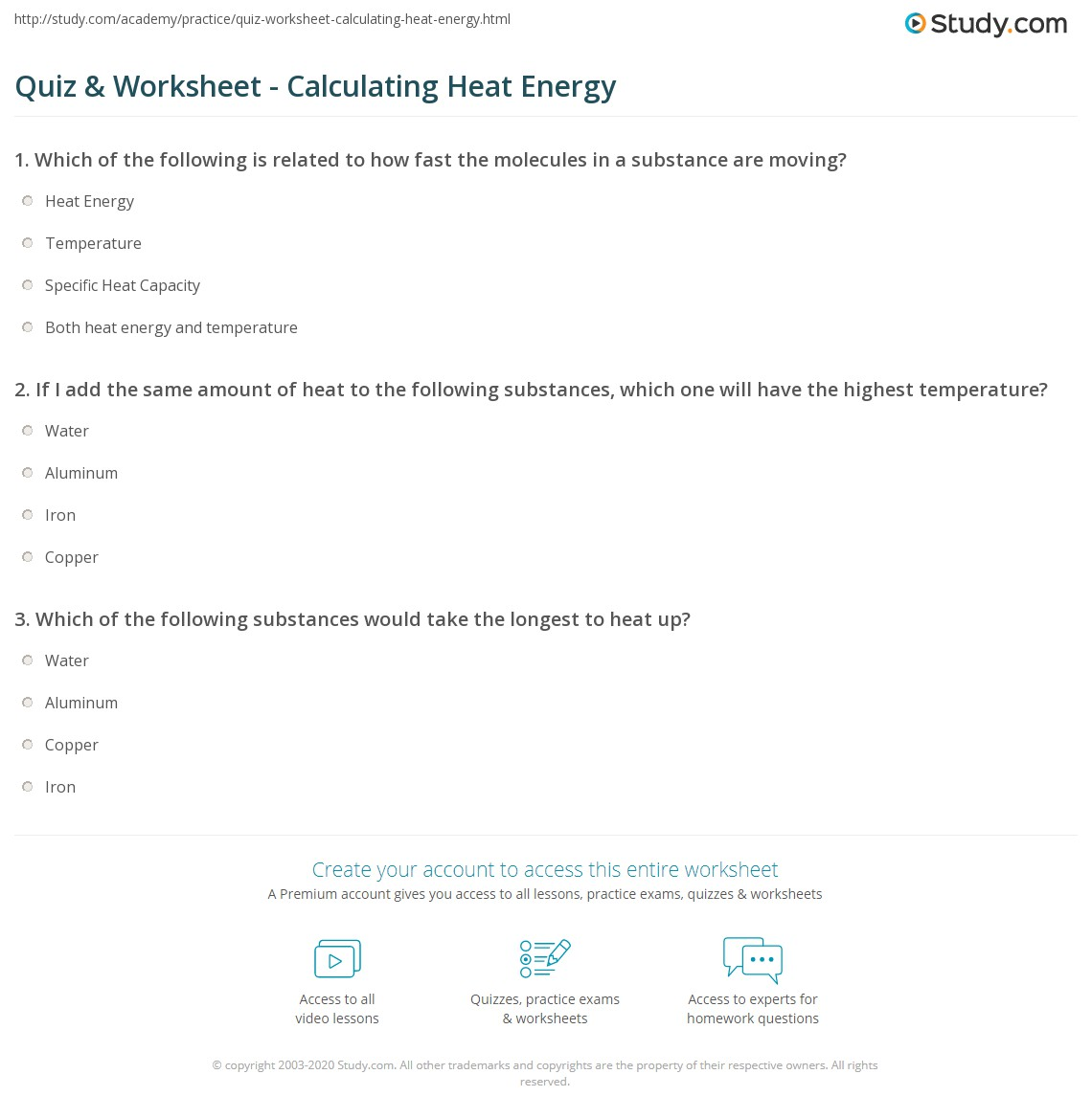 {Quiz Worksheet Calculating Heat Energy – Energy Calculations Worksheet
