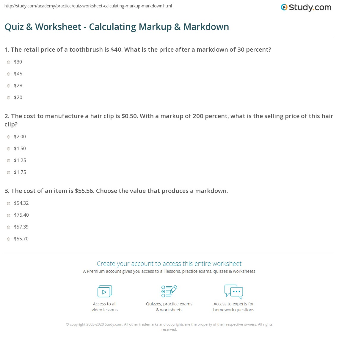 Uncategorized Business Math Worksheet quiz worksheet calculating markup markdown study com print calculation examples worksheet