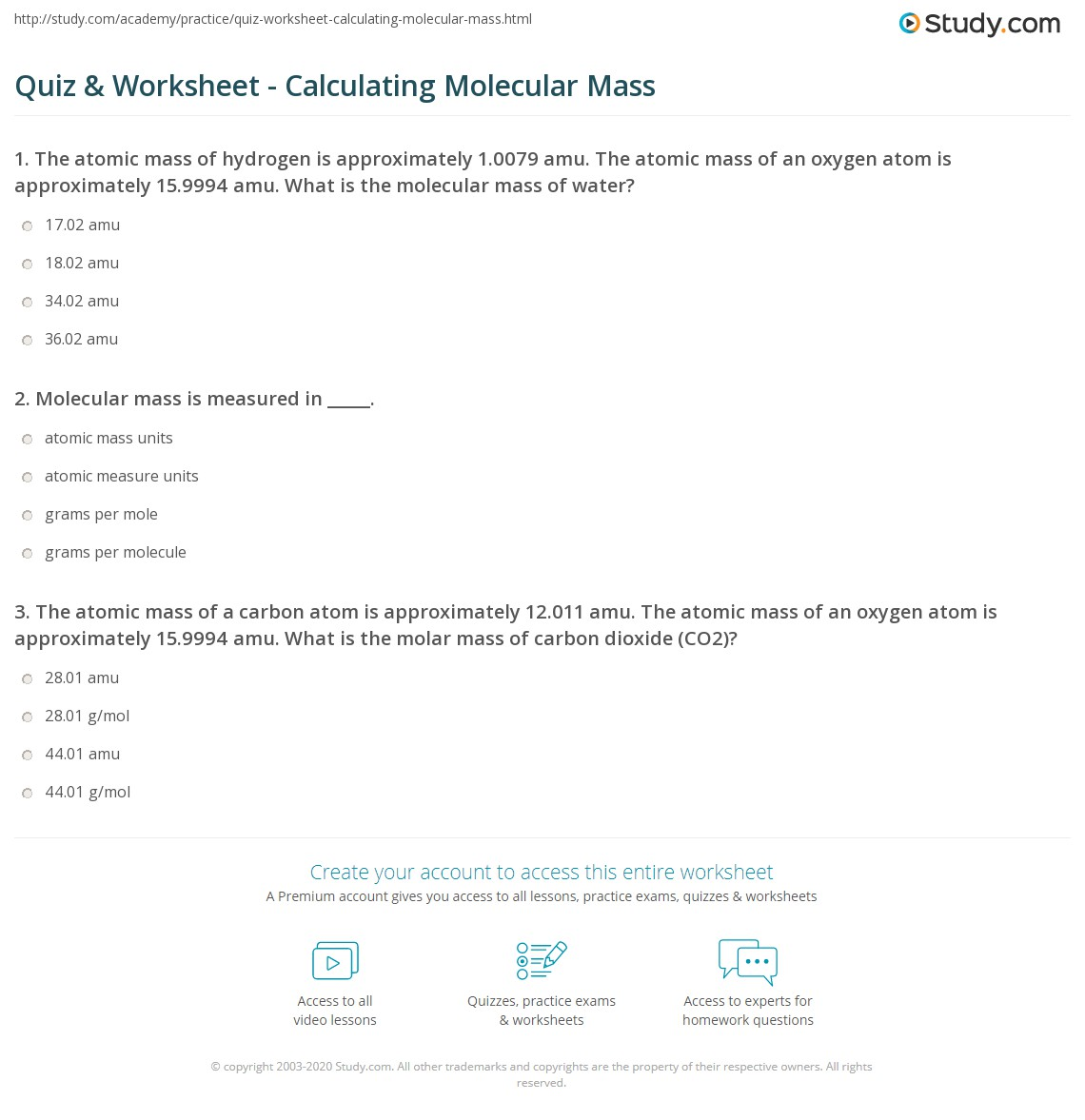 Quiz & Worksheet - Calculating Molecular Mass | Study.com