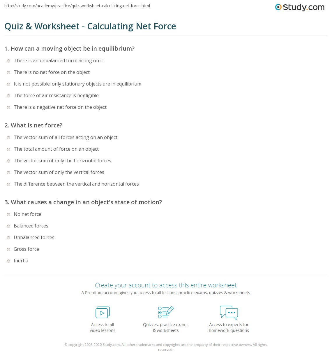 {Quiz Worksheet Calculating Net Force – Calculating Net Force Worksheet