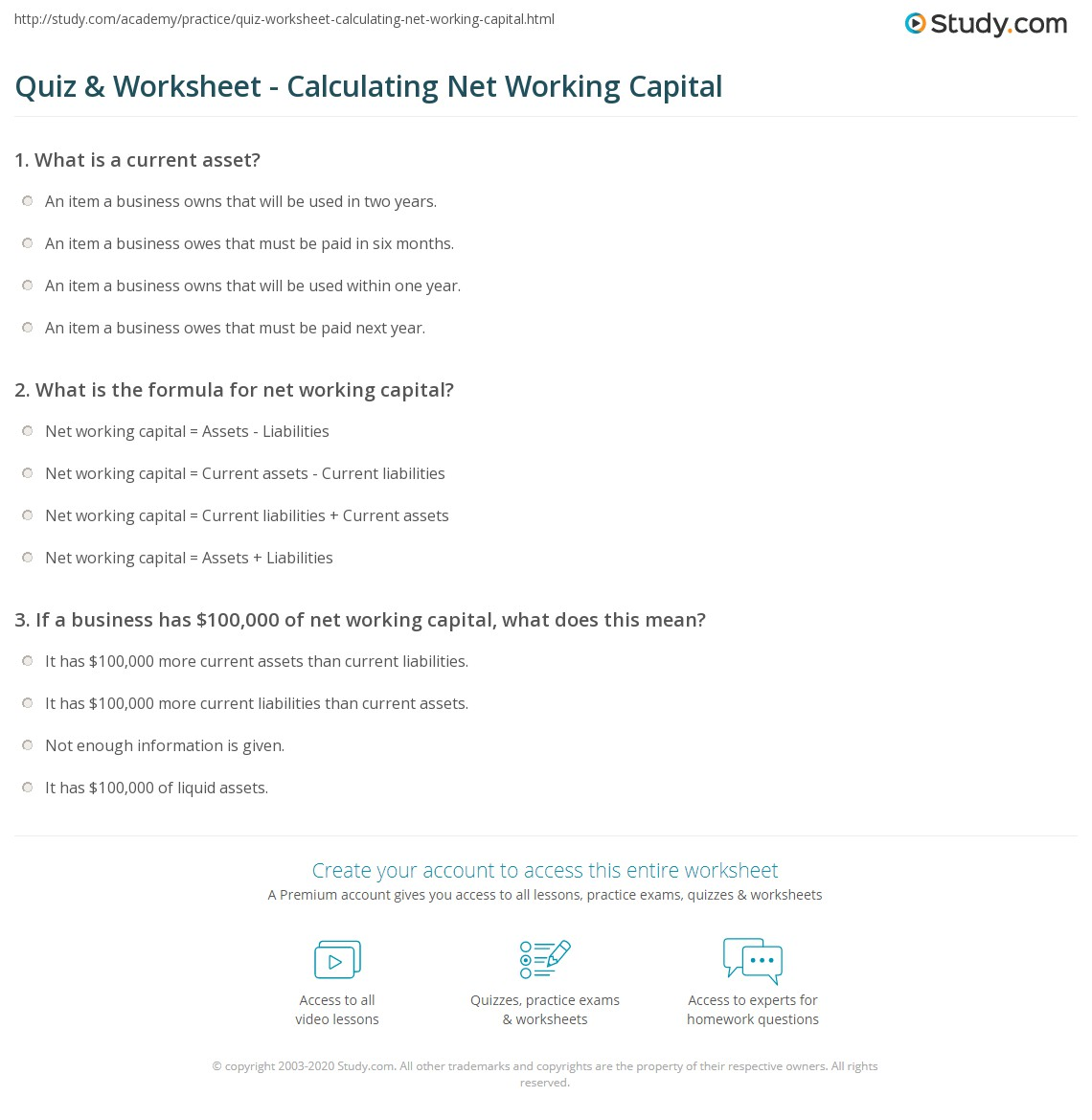 Quiz & Worksheet - Calculating Net Working Capital | Study.com