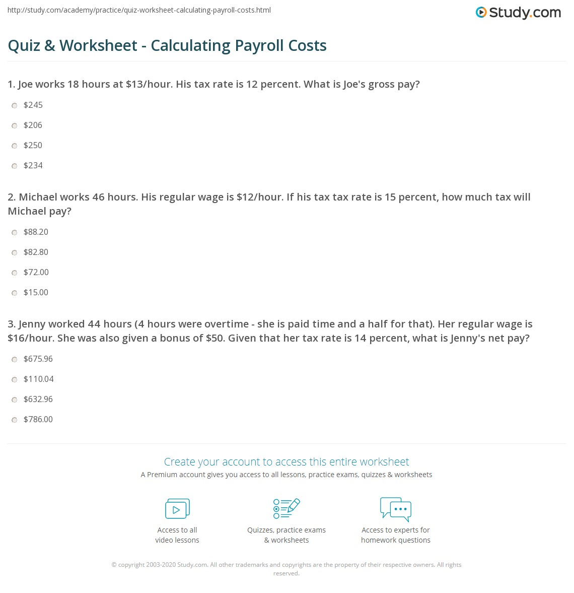 math worksheet : quiz  worksheet  calculating payroll costs  study  : Business Math Worksheets