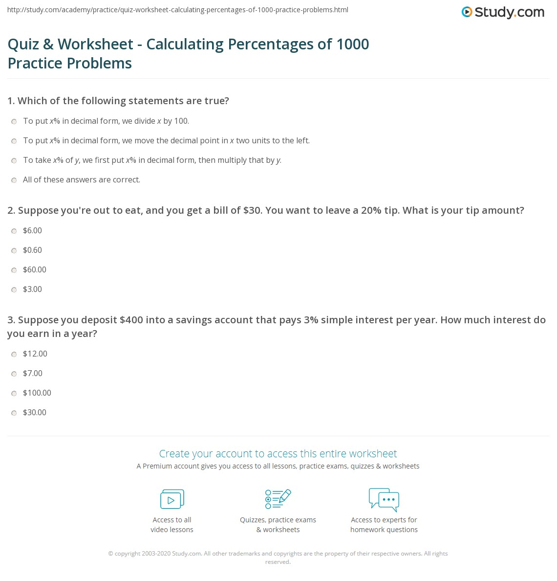 Quiz Worksheet Calculating Percentages of 1000 Practice – Simple Interest Problems Worksheet
