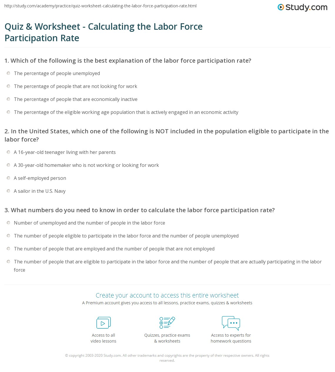 Quiz Worksheet Calculating the Labor Force Participation Rate – Calculating Work Worksheet