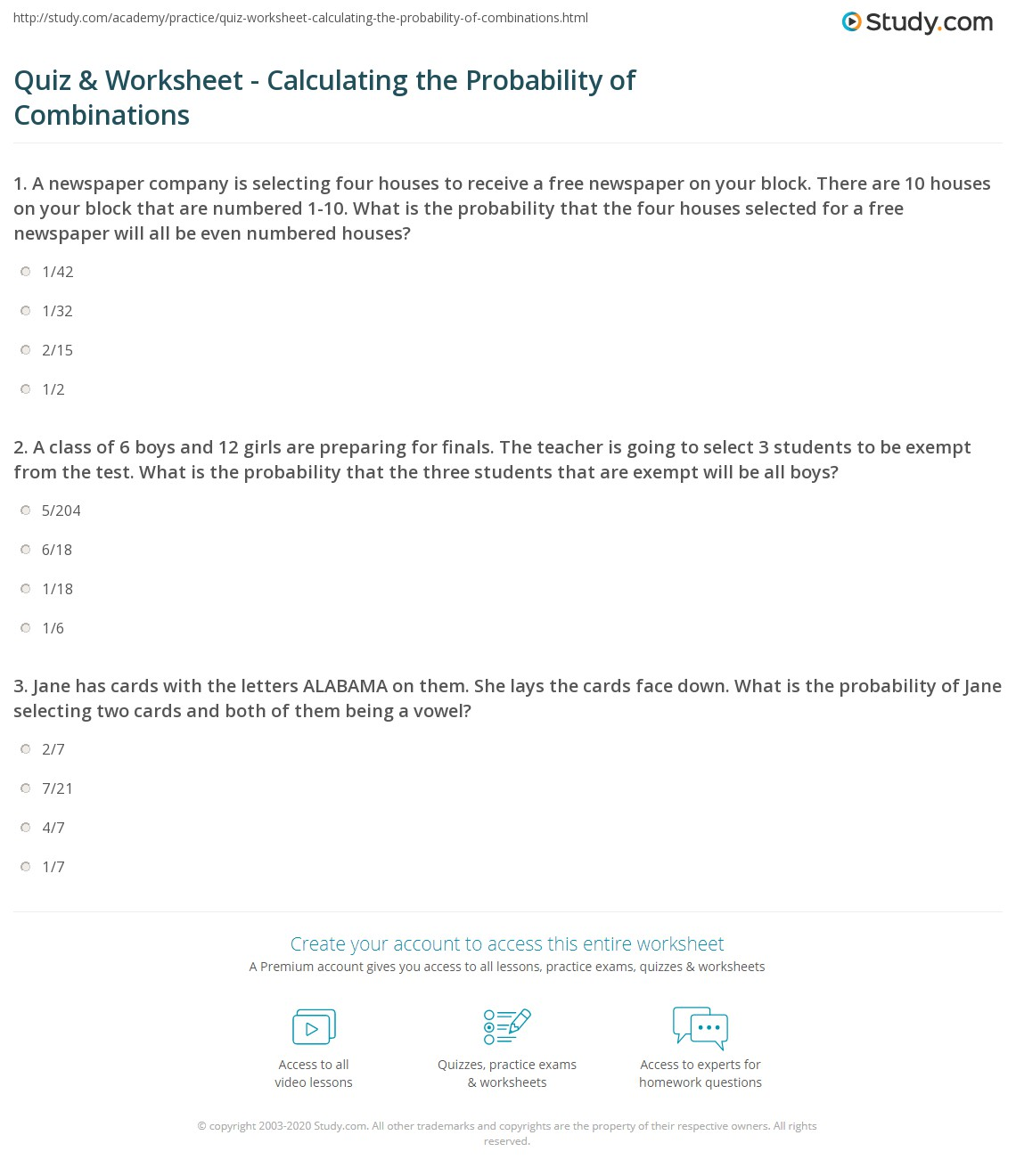 Quiz Worksheet Calculating the Probability of Combinations – Probability and Statistics Worksheets