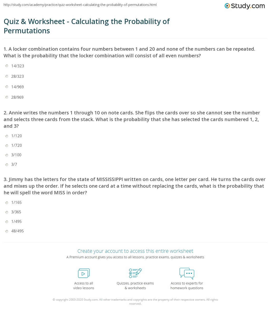 Quiz & Worksheet - Calculating the Probability of Permutations ...