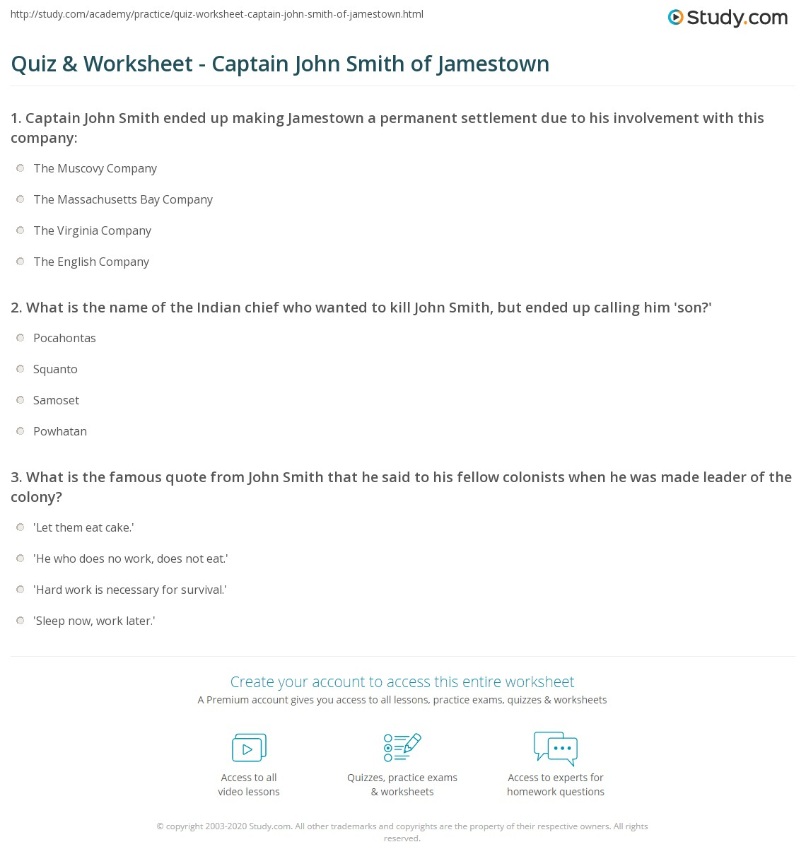 Quiz & Worksheet - Captain John Smith of Jamestown | Study.com