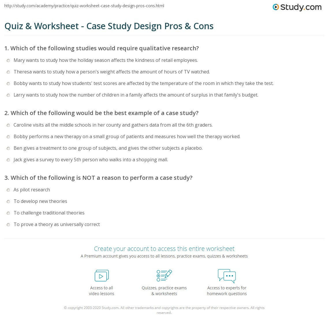 Quiz amp Worksheet Case Study Design Pros amp Cons Studycom Quiz Worksheet Case Study Design Pros Cons Quiz Worksheet Case Study Design Pros Cons