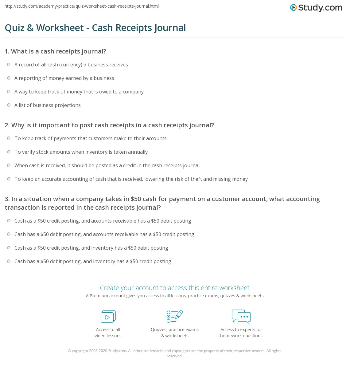 Quiz and Worksheet Cash Receipts Journal – Examples of Cash Receipts