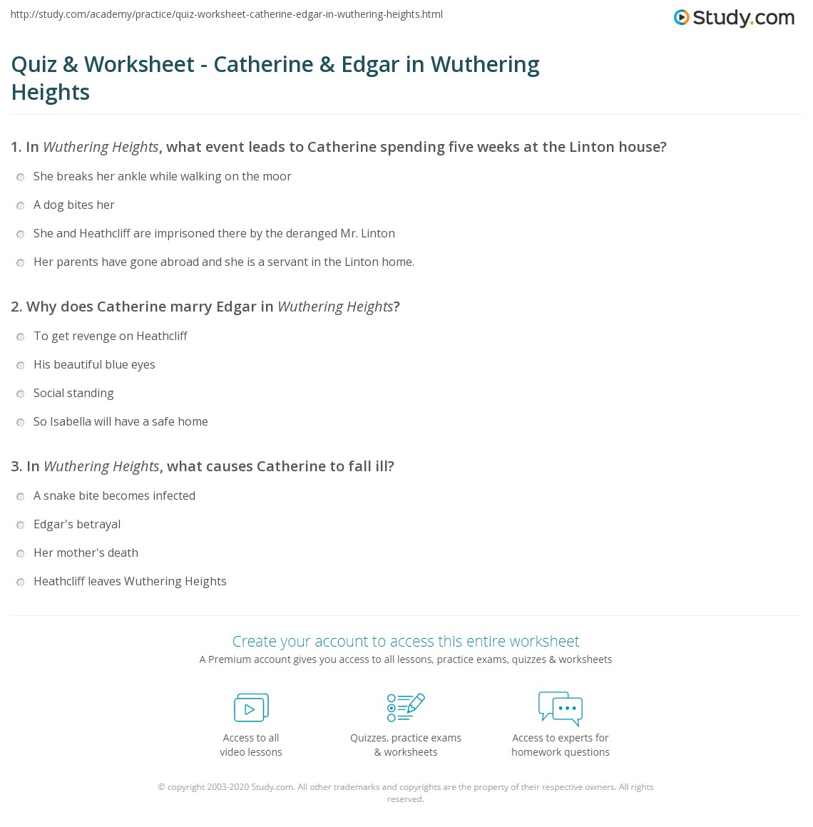 quiz worksheet catherine edgar in wuthering heights com print catherine edgar s relationship in wuthering heights analysis quotes worksheet