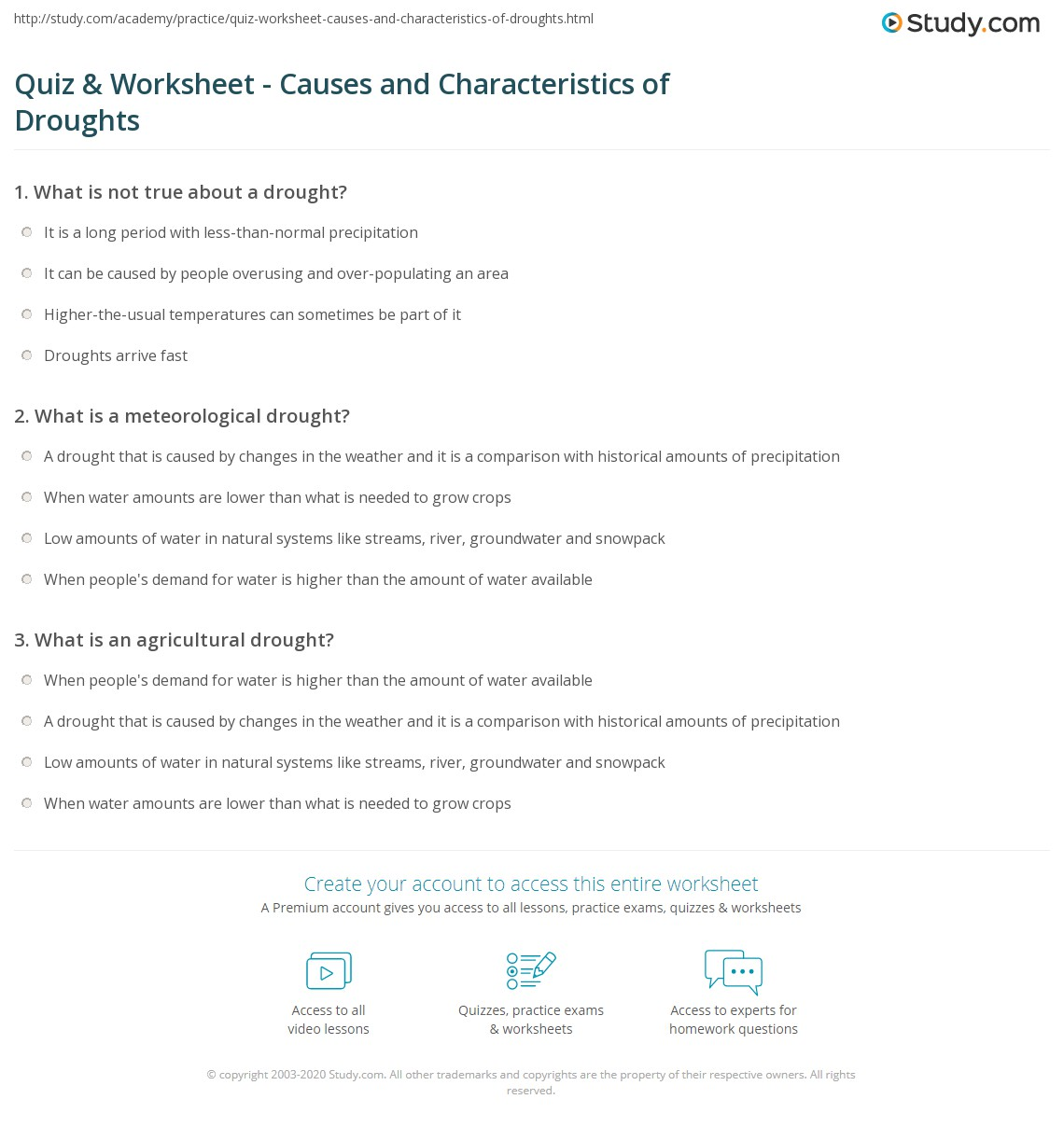 Worksheet Drought Worksheets quiz worksheet causes and characteristics of droughts study com print what is a drought definition facts worksheet