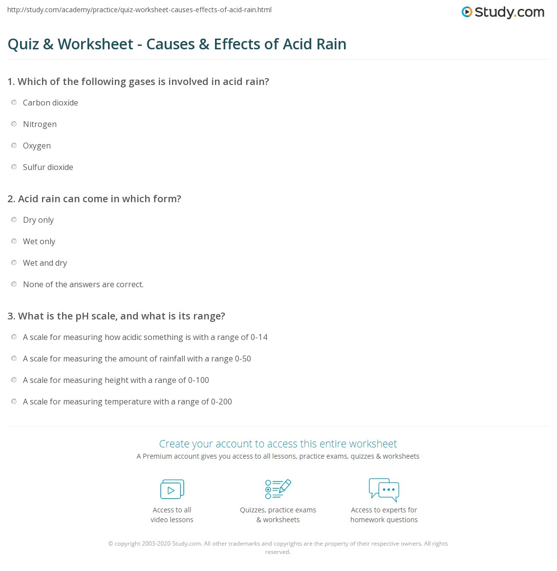 {Quiz Worksheet Causes Effects of Acid Rain – Ph and Acid Rain Worksheet