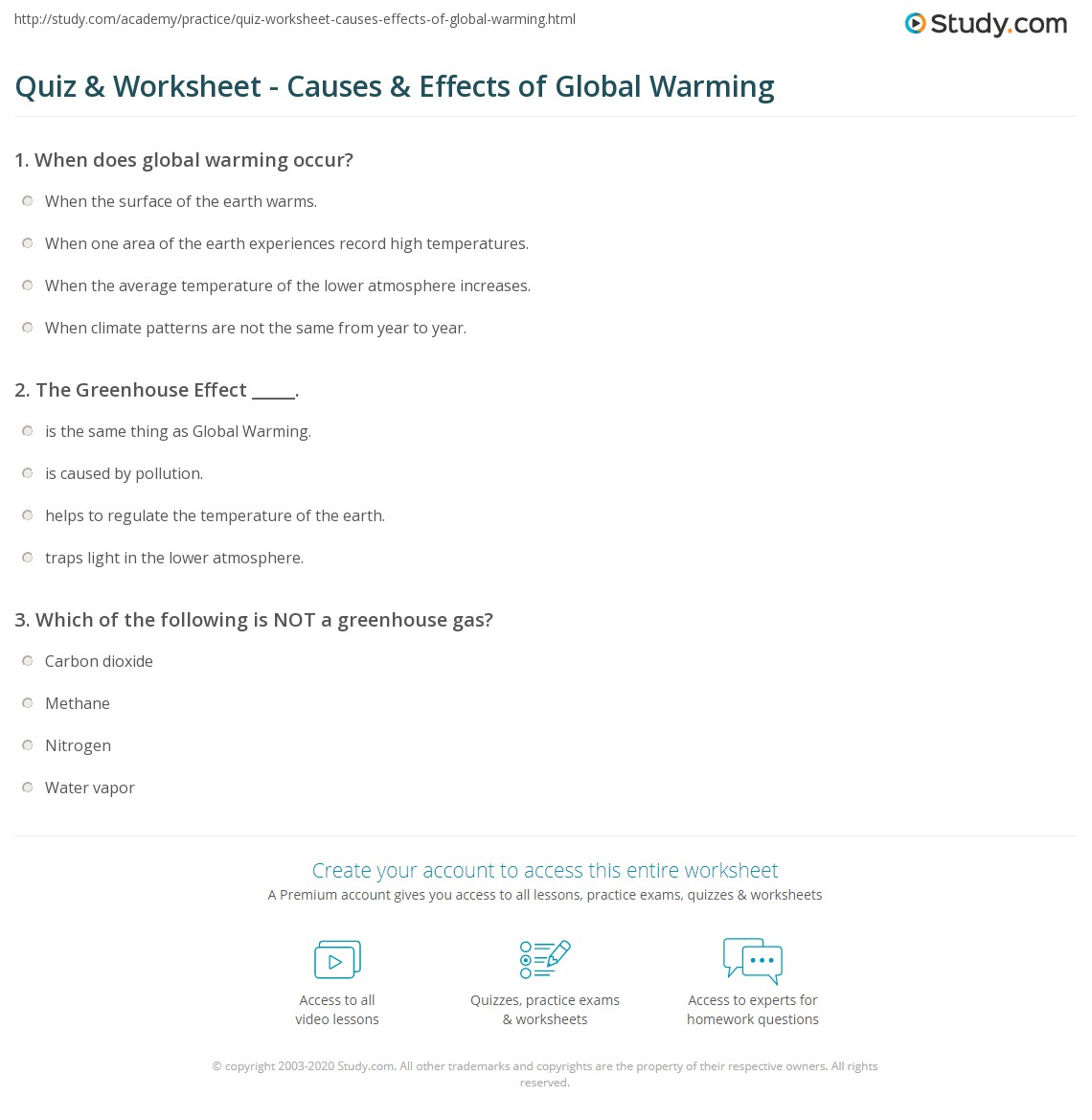 Worksheets Global Warming Worksheets quiz worksheet causes effects of global warming study com print atmospheric and effect on climate worksheet