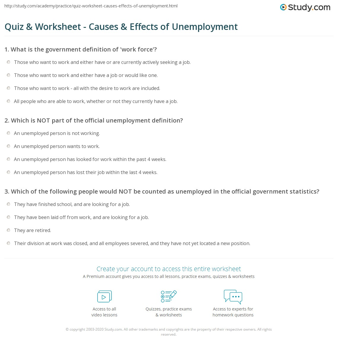 quiz worksheet causes effects of unemployment com print what is unemployment definition causes effects worksheet