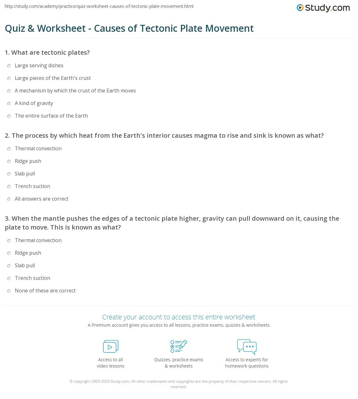 Quiz Worksheet Causes Of Tectonic Plate Movement