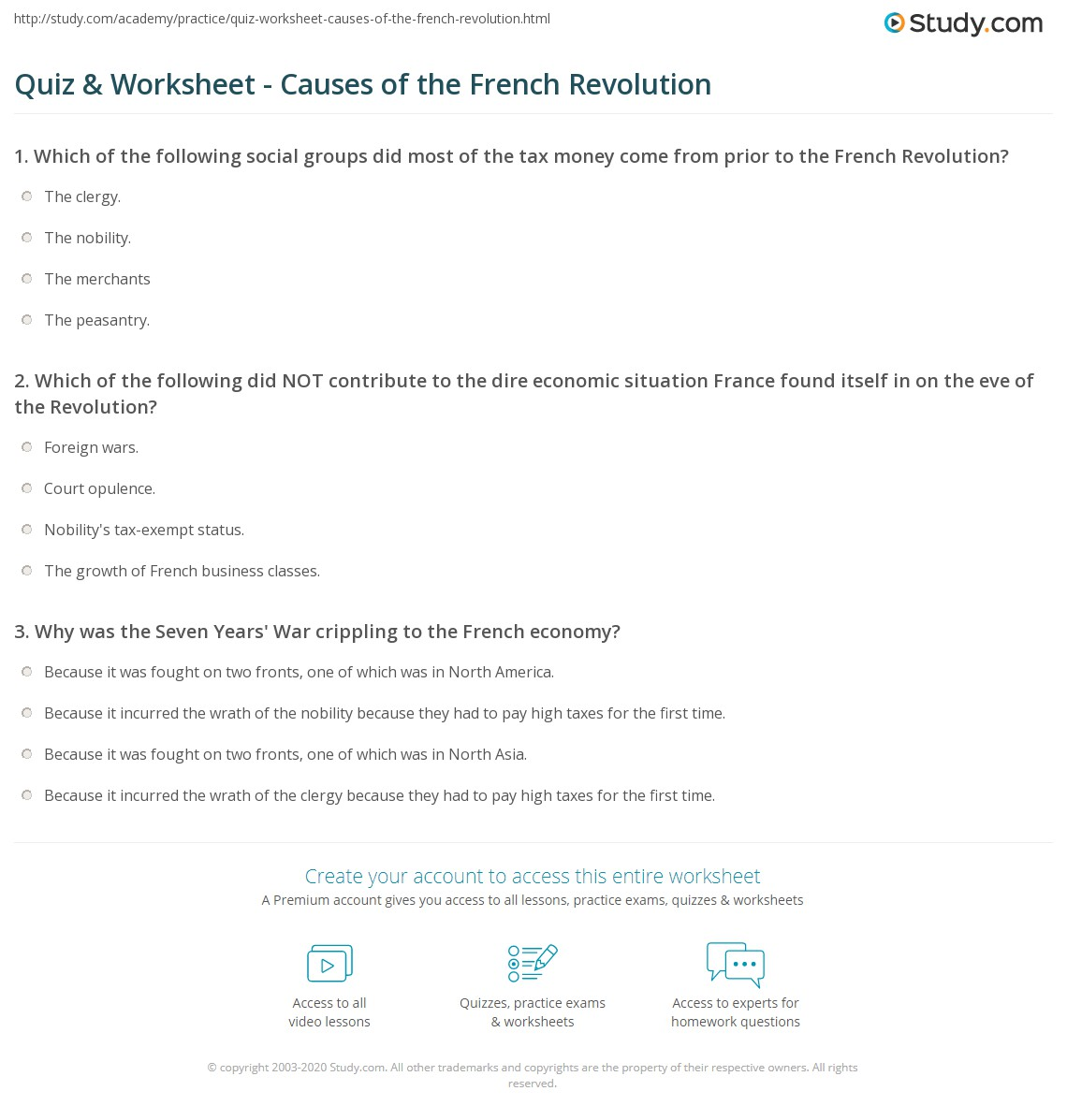 Quiz Worksheet Causes of the French Revolution – French Revolution Worksheets