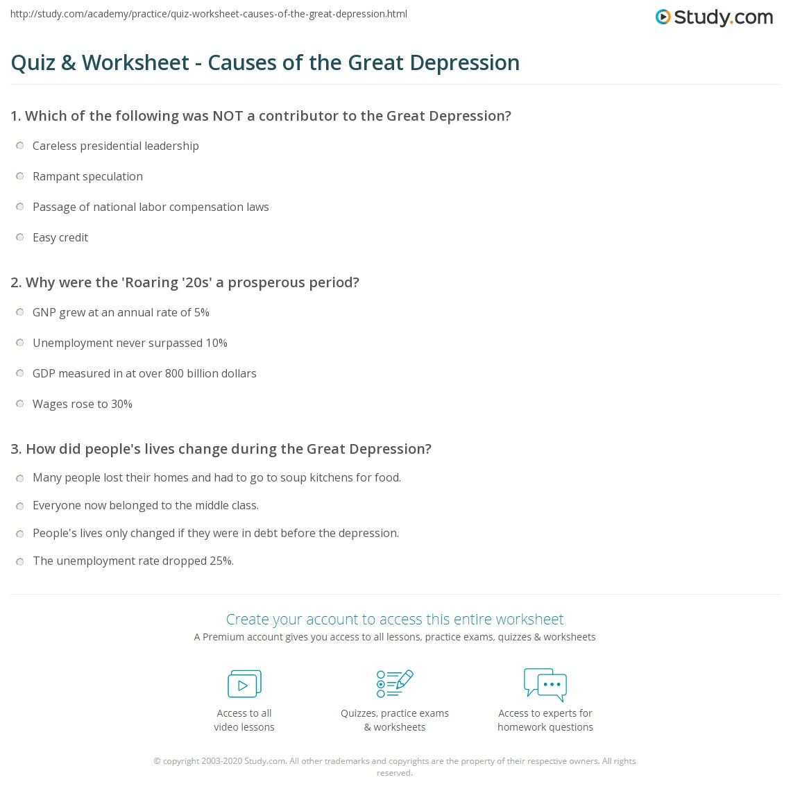 Quiz Worksheet Causes of the Great Depression – Depression Worksheets