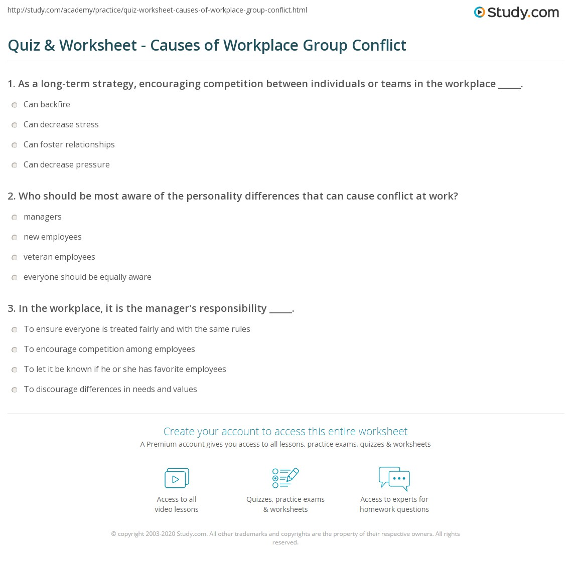 Quiz Worksheet Causes of Workplace Group Conflict – Conflict Resolution Worksheet