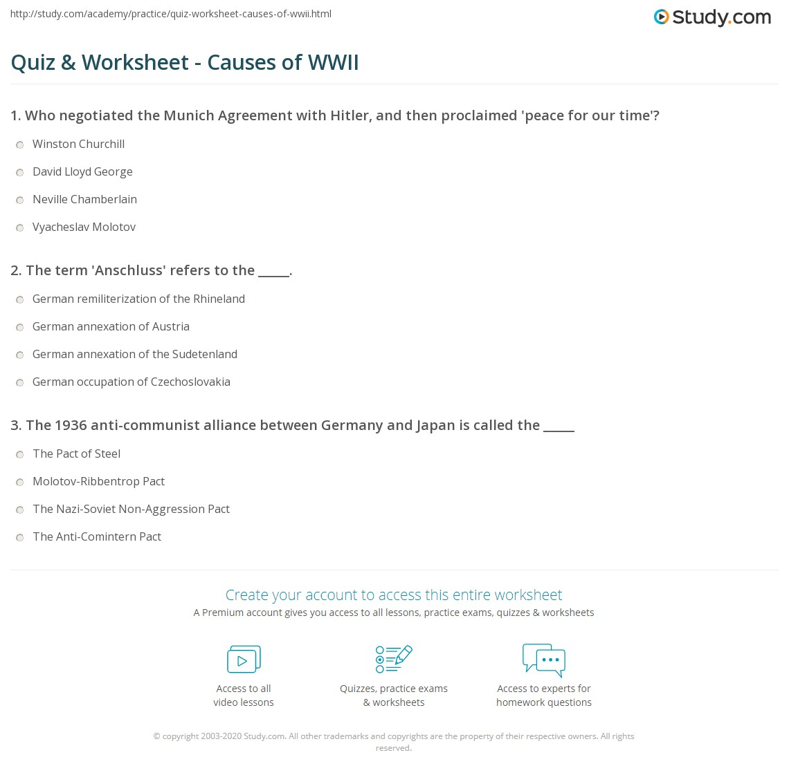 Worksheet Causes Of World War 1 Worksheet causes of world war 1 worksheet chart listing the and occupations agreements appeasement second war