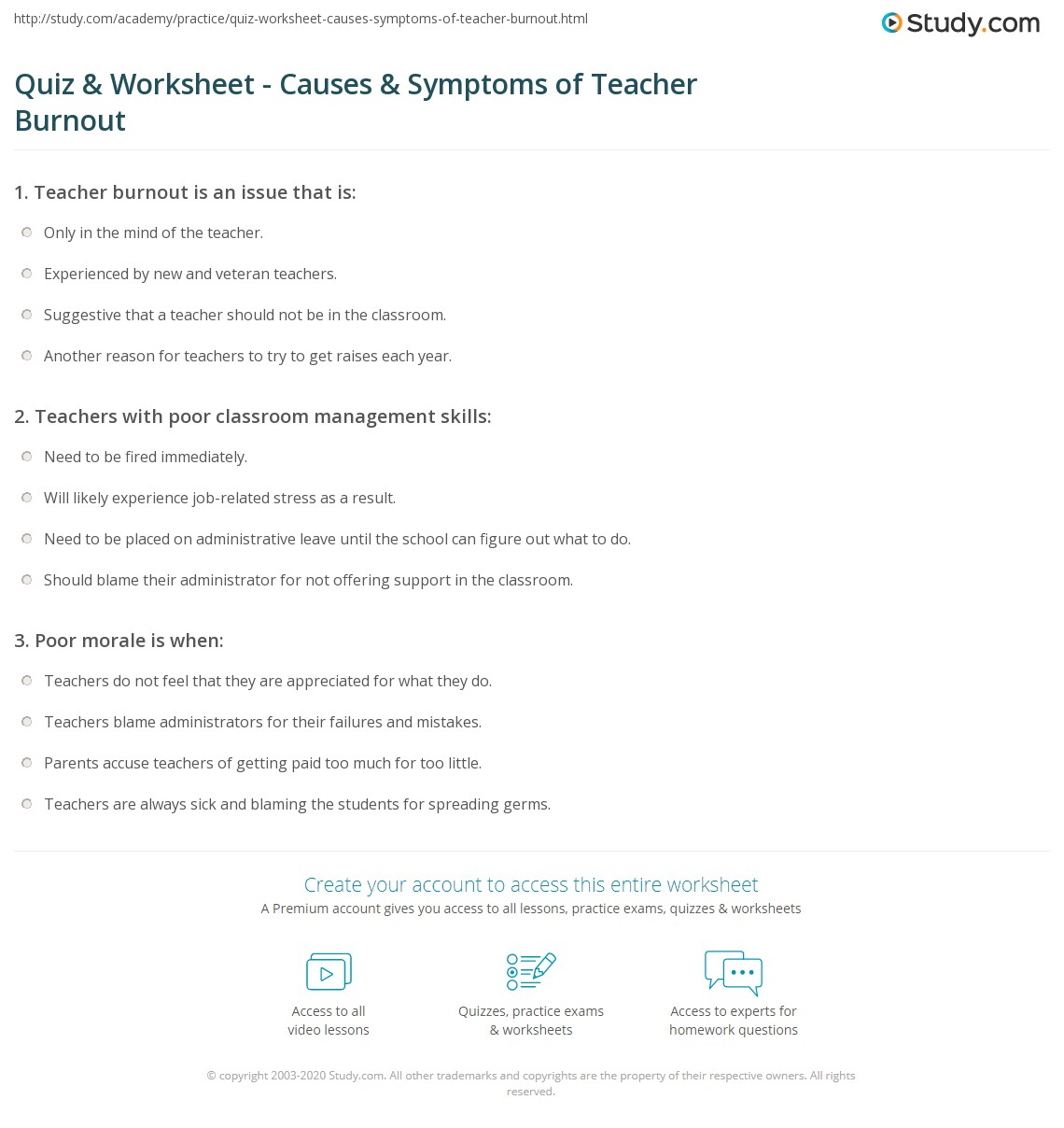 quiz worksheet causes symptoms of teacher burnout study com print avoiding teacher burnout causes and symptoms worksheet