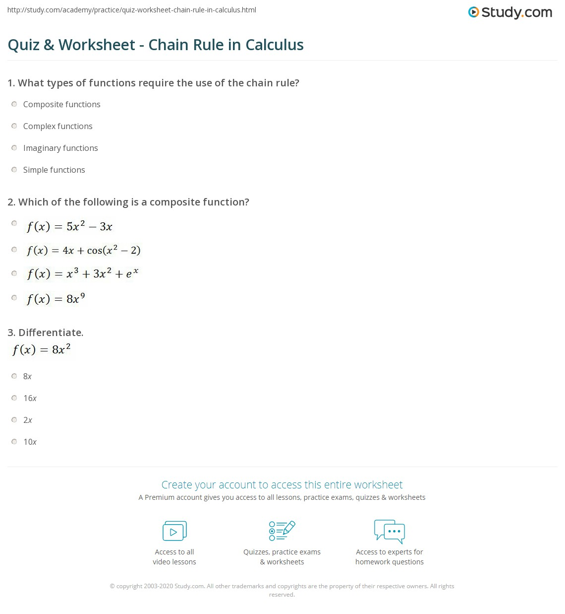 Quiz & Worksheet - Chain Rule in Calculus | Study.com