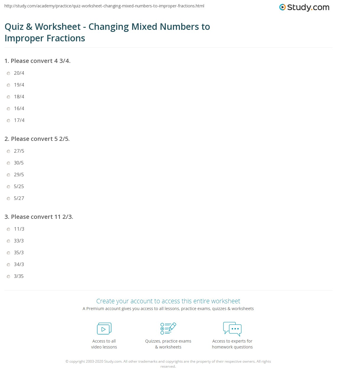 Quiz Worksheet Changing Mixed Numbers to Improper Fractions – Improper Fractions to Mixed Numbers Worksheets