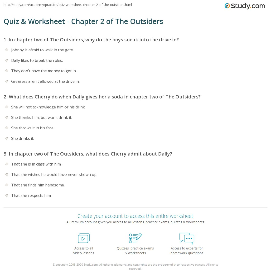 quiz worksheet chapter 2 of the outsiders. Black Bedroom Furniture Sets. Home Design Ideas