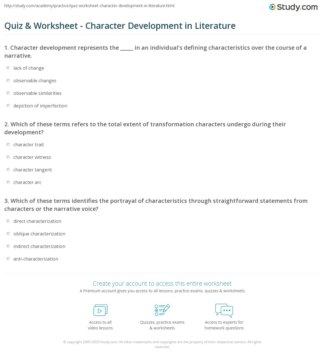Quiz Worksheet Character Development in Literature – Character Development Worksheets