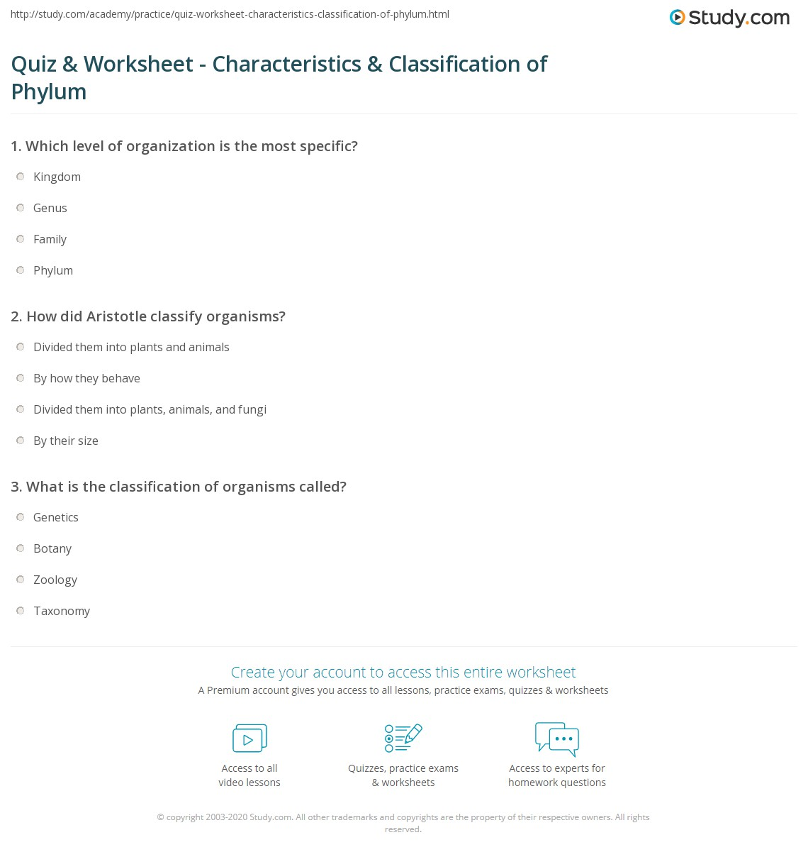 Quiz Worksheet Characteristics Classification of Phylum – Classification Worksheet Biology