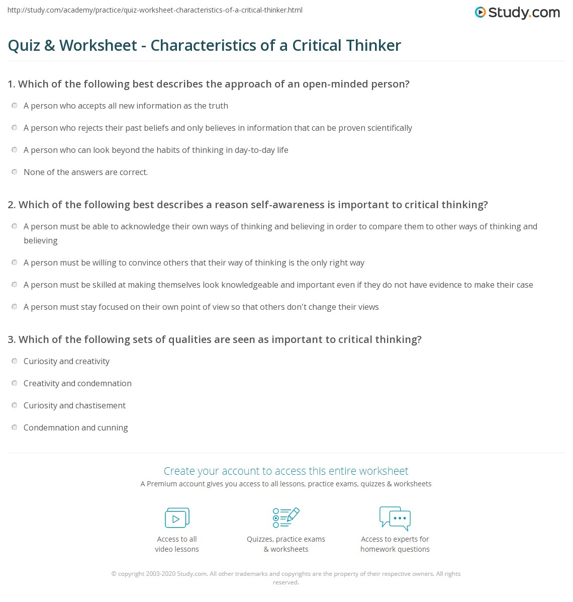worksheet Critical Thinking Worksheet quiz worksheet characteristics of a critical thinker study com which the following best describes reason self awareness is important to thinking