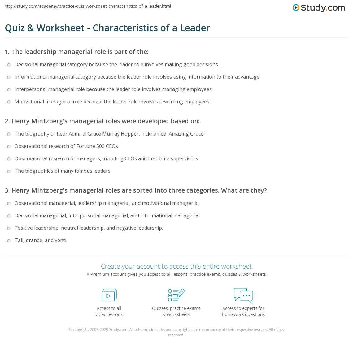 Quiz Worksheet Characteristics of a Leader – Leadership Worksheets