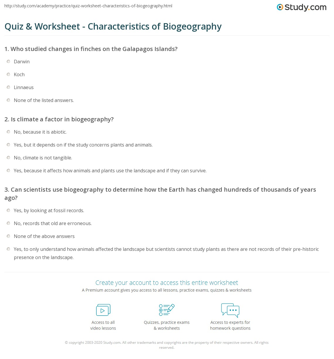quiz worksheet characteristics of biogeography. Black Bedroom Furniture Sets. Home Design Ideas